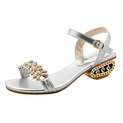 349129a7c3 ZHRUI Sandali Diamante in Nastro Oro con Diamanti per Le Donne ...