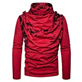 European Size Fashion Spray Painting Heap Collar Long Sleeve Knitting Sweater (Red, S)