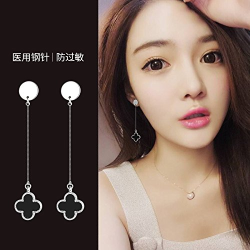 TKHNE Fashion style black agate earrings tassel earrings earrings Lucky flower women girls models simple