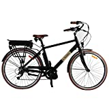 E-Retro Mid-Drive e-Bike w/ LCD Display Screen & Headlight - 250 Watt Bafang eBike Motor, 36v Battery & Tail Light Rack. 20 MPH Men's Hybrid Pedal Assist Electric City Bicycle w/ Shimano Components