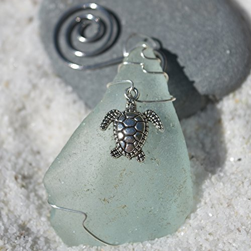 Custom Surf Tumbled Sea Glass Ornament with a Silver Sea Turtle Charm - Choose Your Color