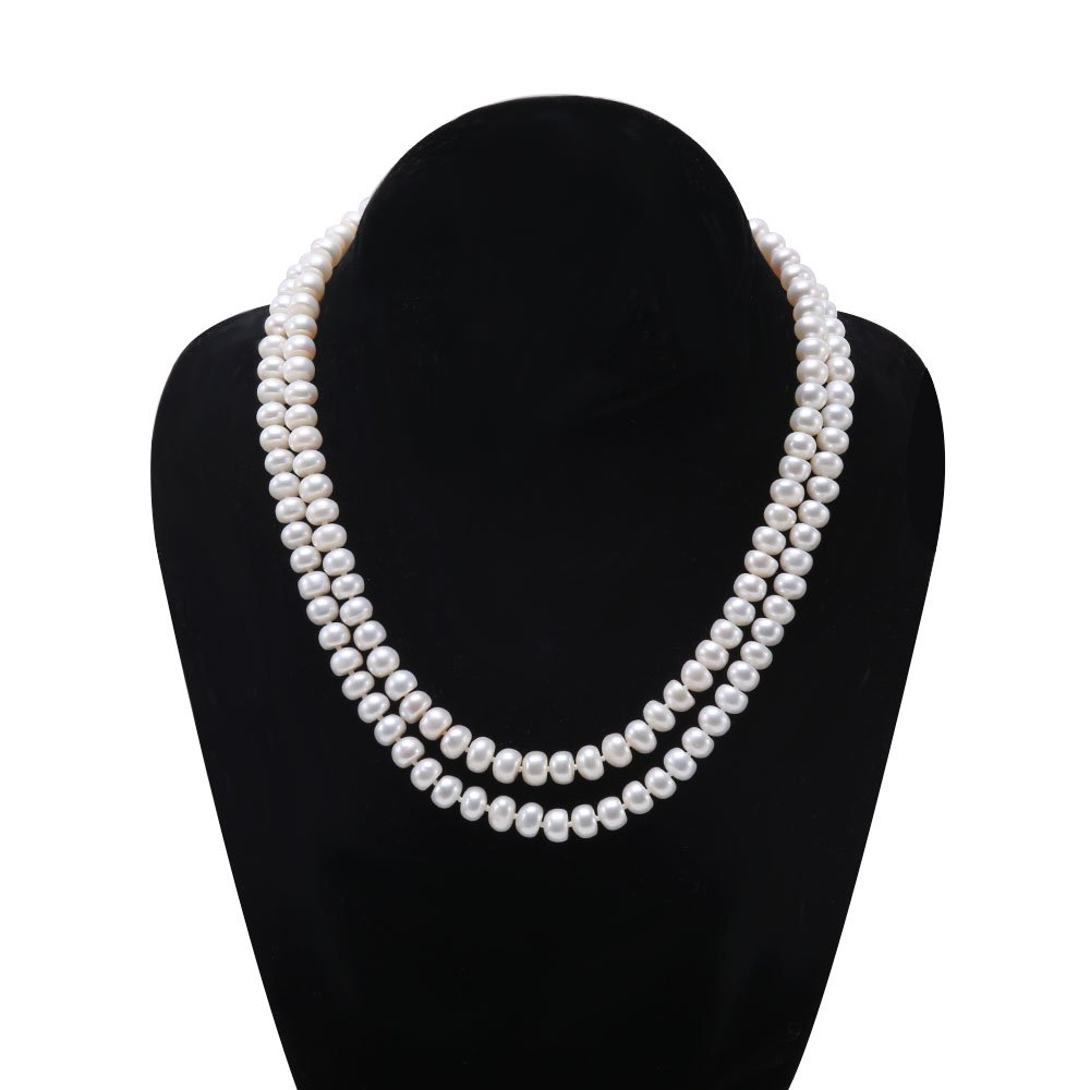 JYX Classic Double-row Flatly Round White Freshwater Cultured Pearl Necklace (7mm)