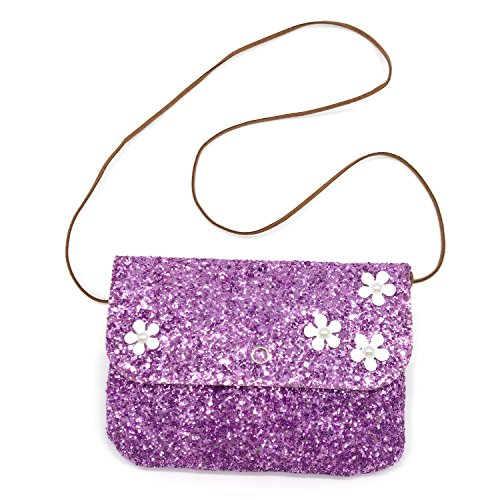 Handbag Purse Girls (Elesa Miracle Little Girl Bag Purse Kids Sequins Crossbody Purse Messenger Bag Party Handbag Shiny Shoulder Bag (Purple))