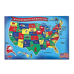 """Melissa & Doug USA (United States) Map Floor Puzzle (Wipe-Clean Surface,  Teaches Geography & Shapes, 51 Pieces, 24"""" L x 36"""" W, Great Gift for Girls  ..."""