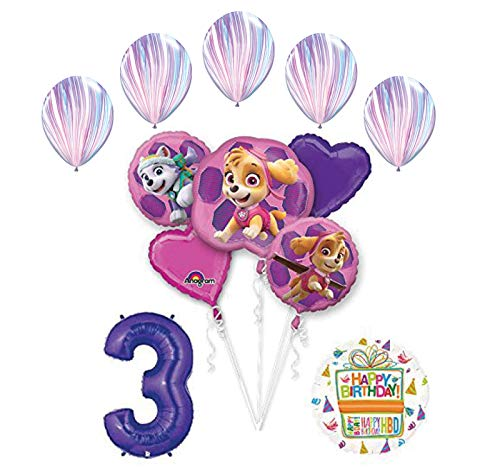 Skye and Everest 3rd Birthday Party Supplies and Balloon Bouquet Decorations ()