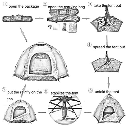 Wnnideo Instant Family Tent 6 Person Large Automatic Pop Up Tents Waterproof for Outdoor Sports C&ing Hiking Travel Beach with Zippered Door and Carrying ...  sc 1 st  Trek-O-Hike & Wnnideo Instant Family Tent 6 Person Large Automatic Pop Up Tents ...