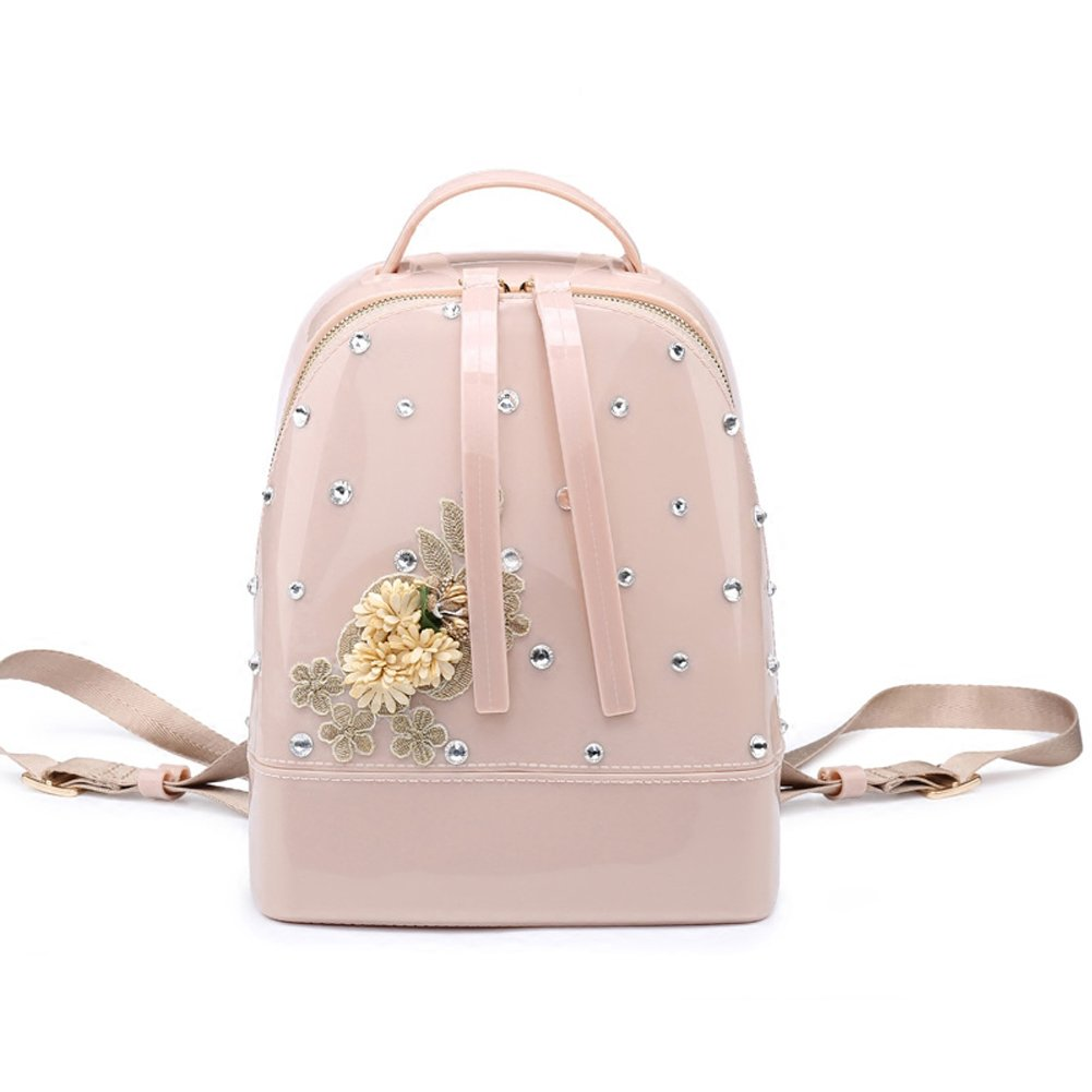 Diamond-Studded and Flower-Borders Cute Jelly Candy Backpack for Teenage Girls