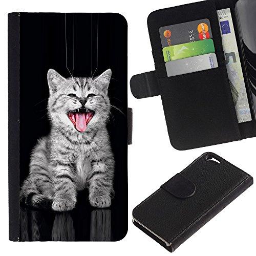 EuroCase - Apple Iphone 6 4.7 - kitten grey American curl bobtail kurilian - Cuir PU Coverture Shell Armure Coque Coq Cas Etui Housse Case Cover