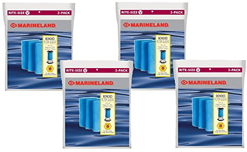Marineland Bonded Filter Sleeve for Magnum 350 Canister Filter - 12 Total (4 Packs with 3 Sleeves per Pack)