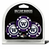Set of 3 University of Washington Huskies Poker Chips with removable Golf Ball Markers