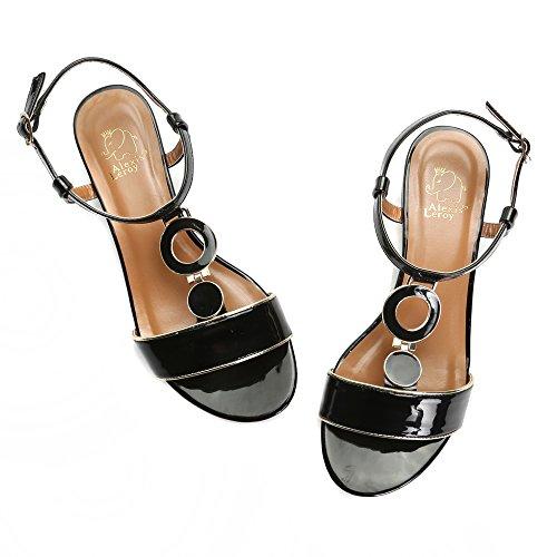 Alexis Leroy Summer Womens Classic Buckle Design Fashion Flat Sandals Black k1HisjlZ
