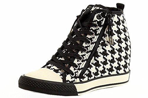 Donna Karan DKNY Women's Carmilla Black/WhiteFashion Wedge Sneaker Shoes