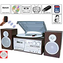 Boytone BT-28SPS, Bluetooth Classic Style Record Player Turntable with AM/FM Radio, Cassette Player, CD Player, 2 Separate Stereo Speakers, Record Vinyl, Radio, Cassette to MP3, SD Slot, USB, AUX