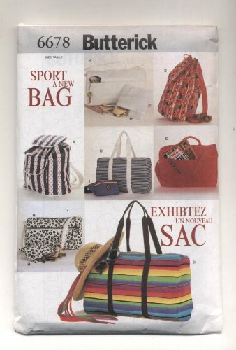 Butterick Sports Bags, Tote Bags, Knapsack, Backpack Sewing Pattern # 6678