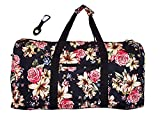 21 in Print Duffle, Overnight, Carry on Bag with Outside Pocket and Shoulder Strap (Blank - Rose Lily)