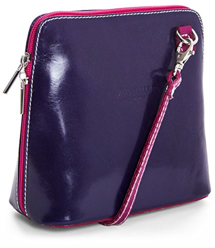 Cross Body with Leather Dust Handbag Mini 2012 LiaTalia Purple a Genuine Protection Italian Womens Bag Pink Abby XY84xYgqf