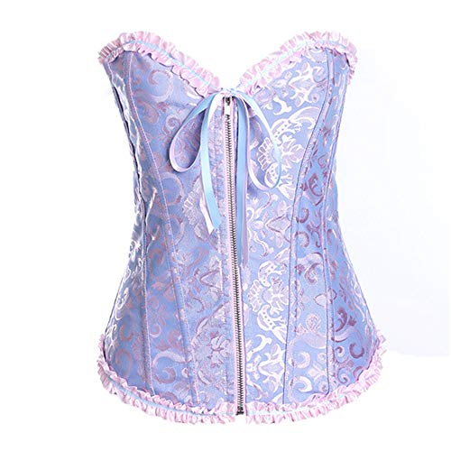 Front Zipper Slimming Waist Body Shaping lace Women's Corset Pleated Corset with(Pink Blue,XXXL)