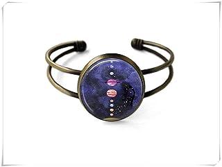 Solar System Bracelet,Planet Jewelry,Space Jewelry,Galaxy Jewelry,Astronomy Jewelry,Dome Glass Jewelry, Pure Hand-Made.