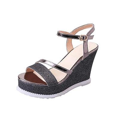 Donne Solid Peep Toe Fondo Spessi Cunei Sandali Hasp Scarpe Flatform♥Sandali  Con Tacco Alto 25a49b99dd3