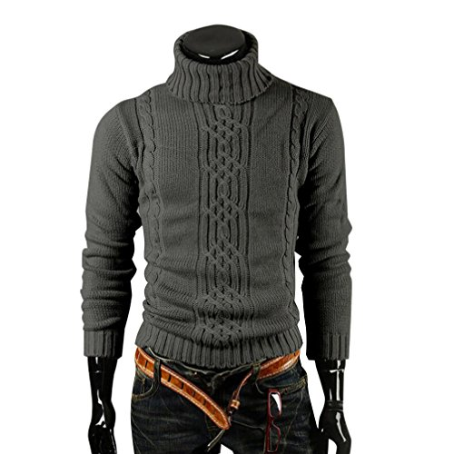 Yang-Yi 2017 Autumn Mens Long Sleeve Casual Slim Fit Pullover Warm Sweater Turtleneck Knitwear (M, Black) ()