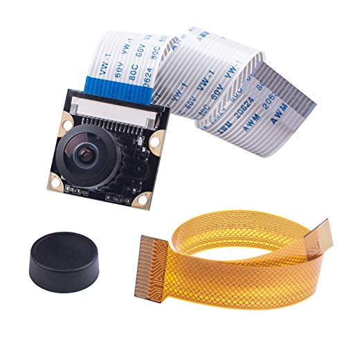 Smraza Raspberry Pi 4 Camera Module 5 Megapixels 1080p OV5647 Sensor Adjustable Focus Wide Angle Fish-Eye Camera Lenses Webcam Video for Raspberry Pi 4 Model B/Pi 3 B+, 3 B, 2 B, Zero
