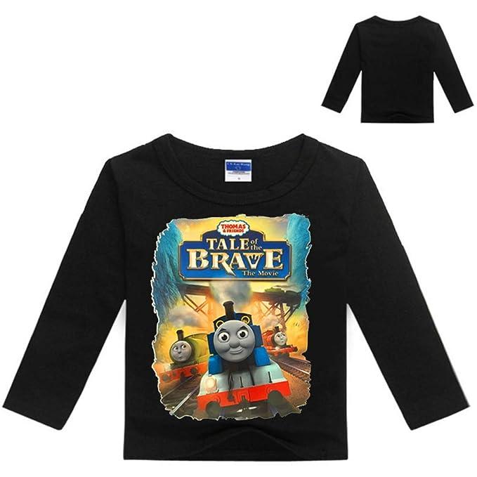 Unisex Tho-mas Friends Camiseta de Manga Larga con Estampado de Dibujos Animados para niños Sudaderas con Cuello Redondo Camisetas de Manga Larga: ...