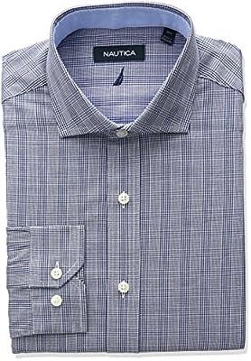Nautica Men's Cutaway Collar Glen Plaid Dress Shirt