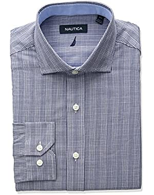 Men's Cutaway Collar Glen Plaid Dress Shirt