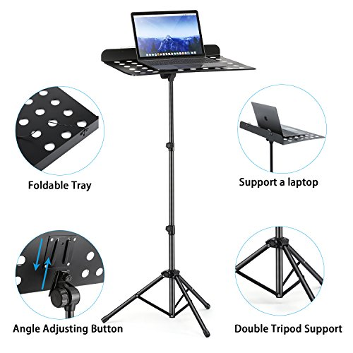 3-Pack MMS-2 Metal Adjustable Sheet Music Stand Portable With Music Stand Light Carrying Bag Black by Moukey (Image #3)