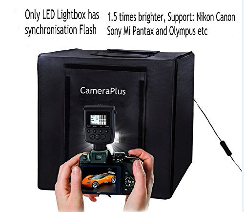CameraPlus - 40cm Professional Portable Photo Studio Home Light Box Cube Tent with 2.4G Wireless Control LED Light/Flash -All in One (40CM Lightbox + Wireless Control LED Flash/Light) by Cameraplus
