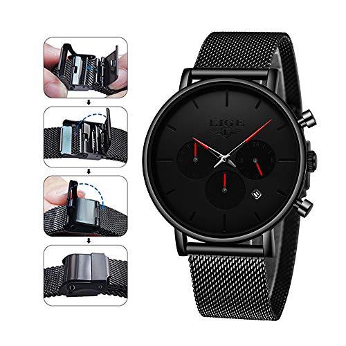 Mens Watches LIGE Fashion Sports Black Stainless Steel Analog Quartz Watch