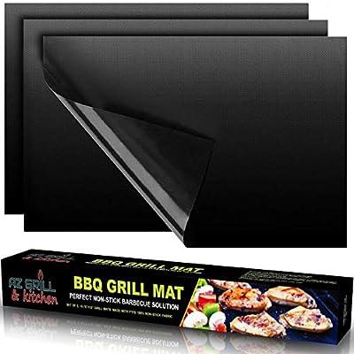 AZ GRILL & KITCHEN Grill Mat - Copper Grilling Mat - Gas Grill Mat - Best BBQ Grill Mat set of 3 - Charcoal Grill Mat - Outdoor Heavy Duty Reusable Grill Mat Black
