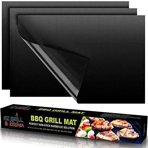 Grill Gas Portable Best (BBQ Grill Mat Copper set of 3 - Magic Heavy Duty NON-STICK Reusable Grilling Baking Cooking Mats - Use on Gas Charcoal Weber Electric Charbroil Pellet Grills - Best Outdoor Barbecue Accessories Black)
