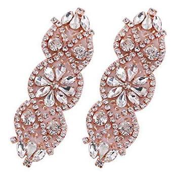 Amazon.com: (2pcs) Rose Gold Rhinestone Bridal Appliques
