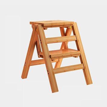 WCS Escalera multifunción Taburete Hogar Madera maciza IKEA Silla plegable para niños Provincia Espacio Escalera de cuatro pasos de doble uso Escalera ascendente Registro de color 40 × 46 × 90 cm: