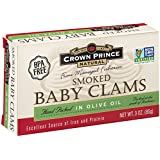 Crown Prince Natural Smoked Baby Clams in Olive Oil, 3-Ounce Cans (Pack of 12)