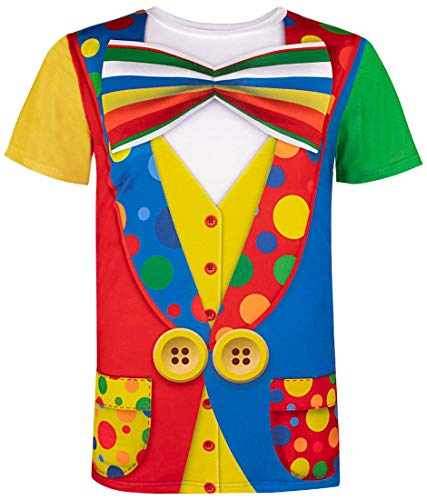 Funny World Men's Clown Costume T-Shirts (M) -