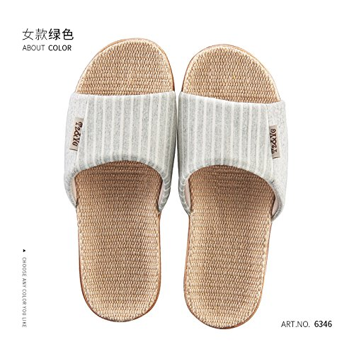 flax men women and summer fankou 35 36 slippers stay summer cool the anti and home slippers linen of thick in Cotton couples green slip indoor Xwq8p