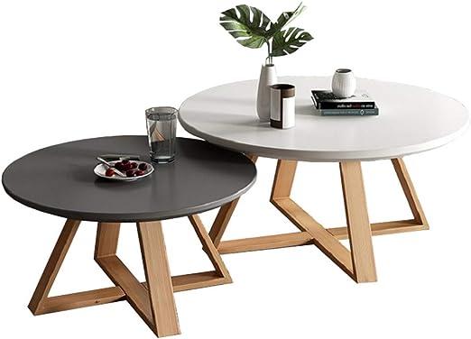 Mesas nido salon Pack 2 espacios pequeños Mesas de centro modernas de madera redonda, Mesas de sofá de patas de madera de haya, Ø50cmx40cm + Ø70cmx 45cm: Amazon.es: Hogar
