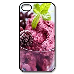 IPhone 4/4s Cases Cute Cheap Blueberry Ice Cream, Ice Cream Cone Iphone 4 Case Case [Black]