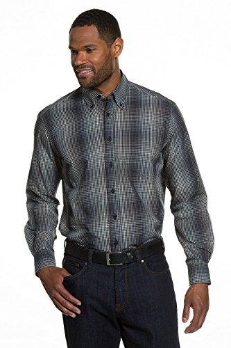 JP 1880 Homme Grandes tailles Chemise à carreaux gris 5XL 706512 12-5XL