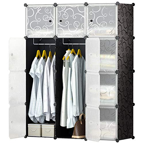 Dvd Storage Armoire - KOUSI Portable Closet Clothes Wardrobe Bedroom Armoire Storage Organizer with Doors, Capacious & Sturdy, Black, 6 Cubes+2 Hanging Sections