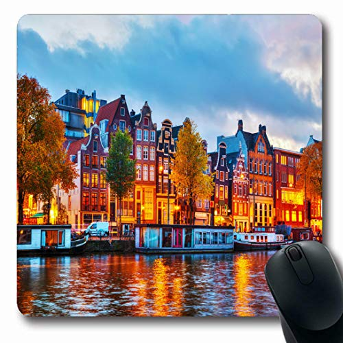 Ahawoso Mousepads for Computers Street Europe Amsterdam City View Amstel River Night Sunset Holland Bicycle Canal Design Place Oblong Shape 7.9 x 9.5 Inches Non-Slip Oblong Gaming Mouse Pad