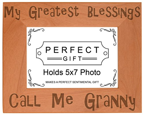 ThisWear Gift Grandma Blessings Call Me Granny Natural Wood Engraved 5x7 Landscape Picture Frame Wood