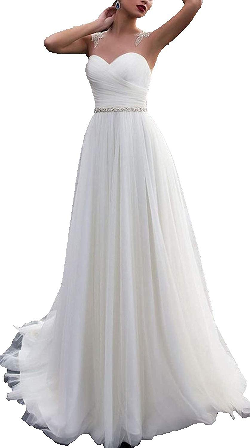 Women s Unique Sweetheart Lace Appliques Back Beach Wedding Dresses for  Bride at Amazon Women s Clothing store  bfd4f12d4c