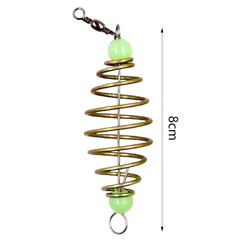 VerneAnn Alimentador de Pesca 5 Piezas Herramienta de Carpa con Bolas Luminosas Accesorios Profesionales Muelle de Acero Inoxidable en l/ínea Tackle Colgante Soporte de Cebo Se/ñuelo
