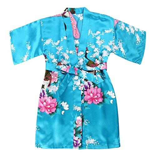 - Toddler Girls' Satin Kimono Robe Peacock Blossoms Bathrobes Weeding Gown SFA Wedding Birthday Ages 1-12 (Turquoise, Size 6: 3-4 Years)