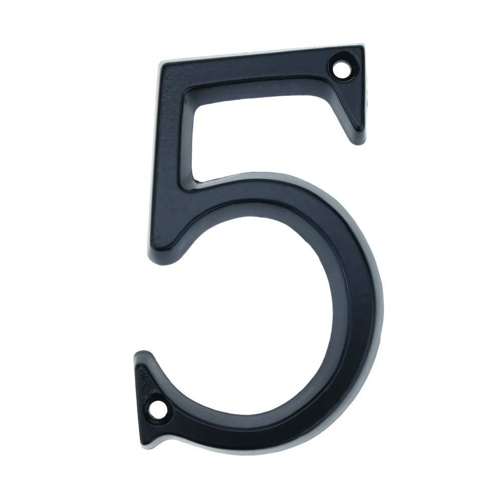 PrimeMatik N/úmero 5 en metal negro de 95mm con torniller/ía para rotulaci/ón