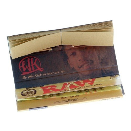 RAW Classic Wiz Khalifa Connoisseur King Size Slim Rolling Papers & Tips - The Wiz Pack (1) (Wiz Tips Paper Khalifa)