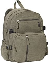 Everest Luggage Canvas Backpack Olive, Olive, One Size